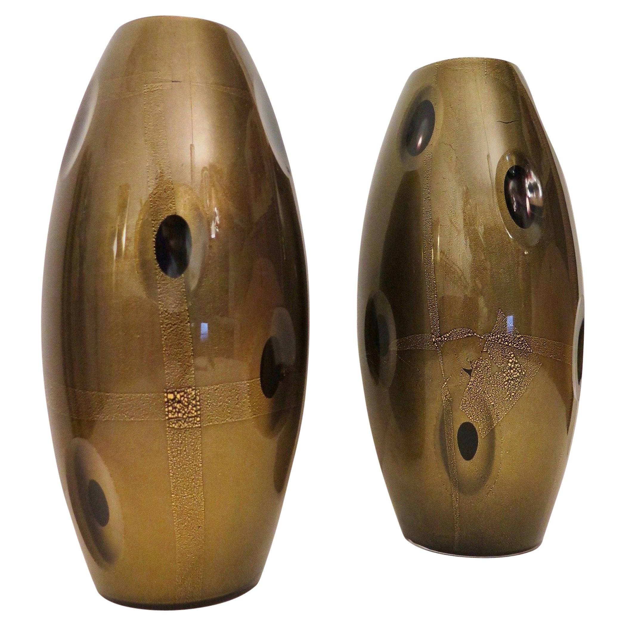 Pairs of Murano Art Glass Midcentury Italian Vases, 1970