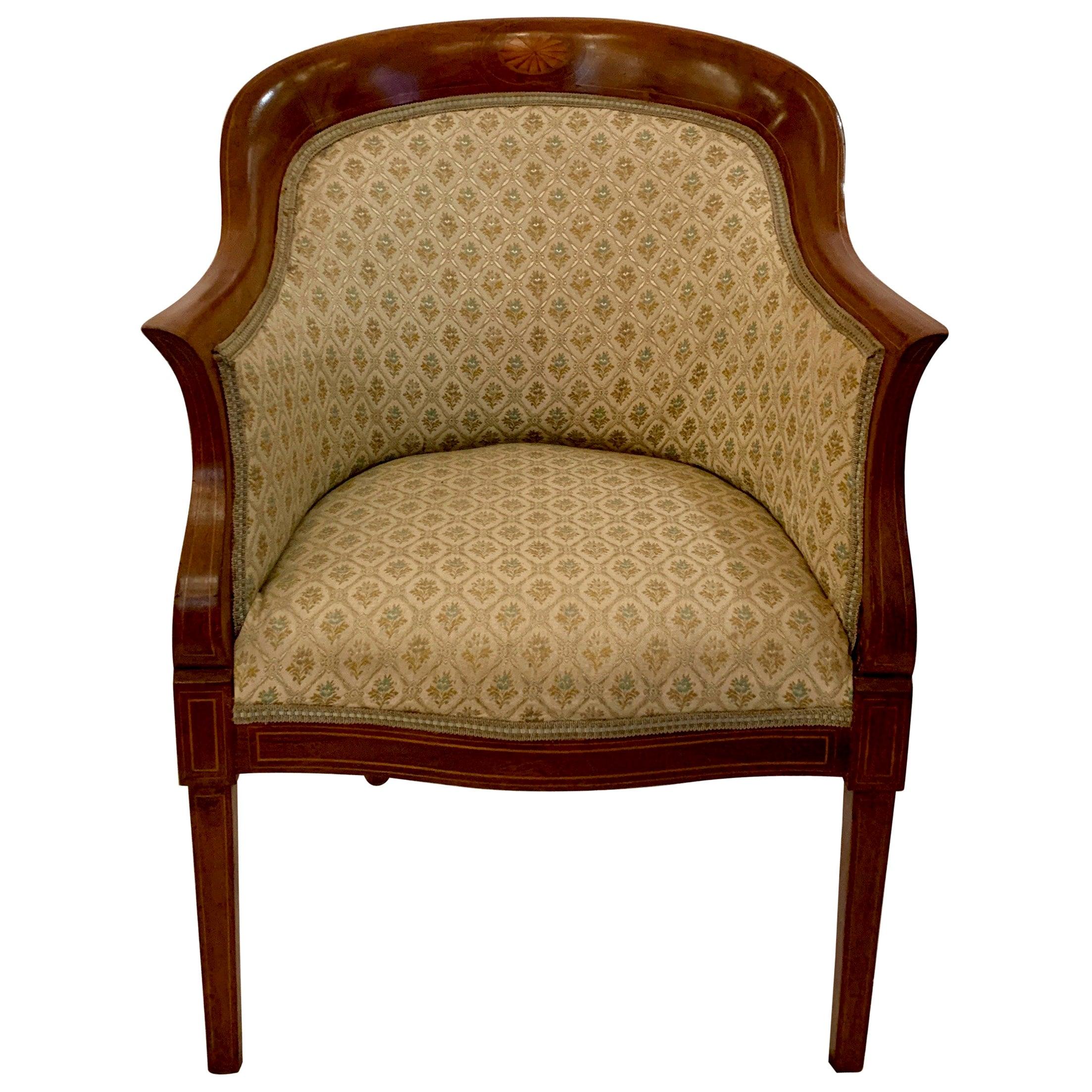 Antique English Edwardian Mahogany Tub Chair 'Armchair', circa 1900-1910