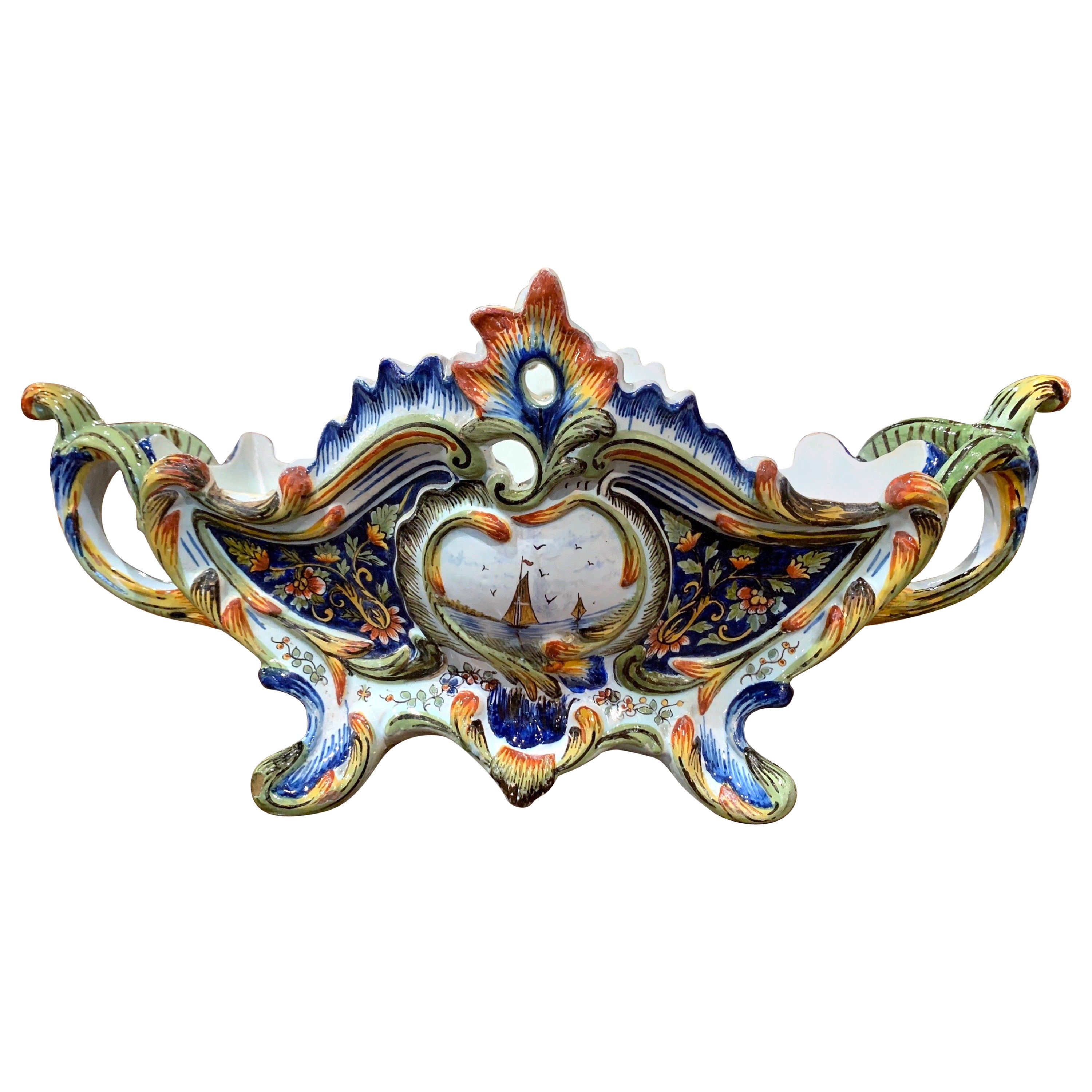 19th Century French Hand Painted Faience Jardinière from Normandy