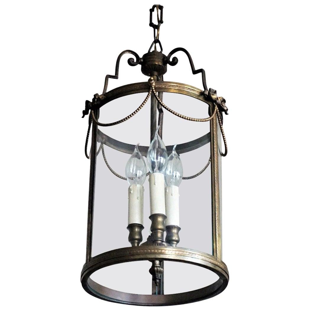 Midcentury Italian Bronze Glass Three-Light Lantern