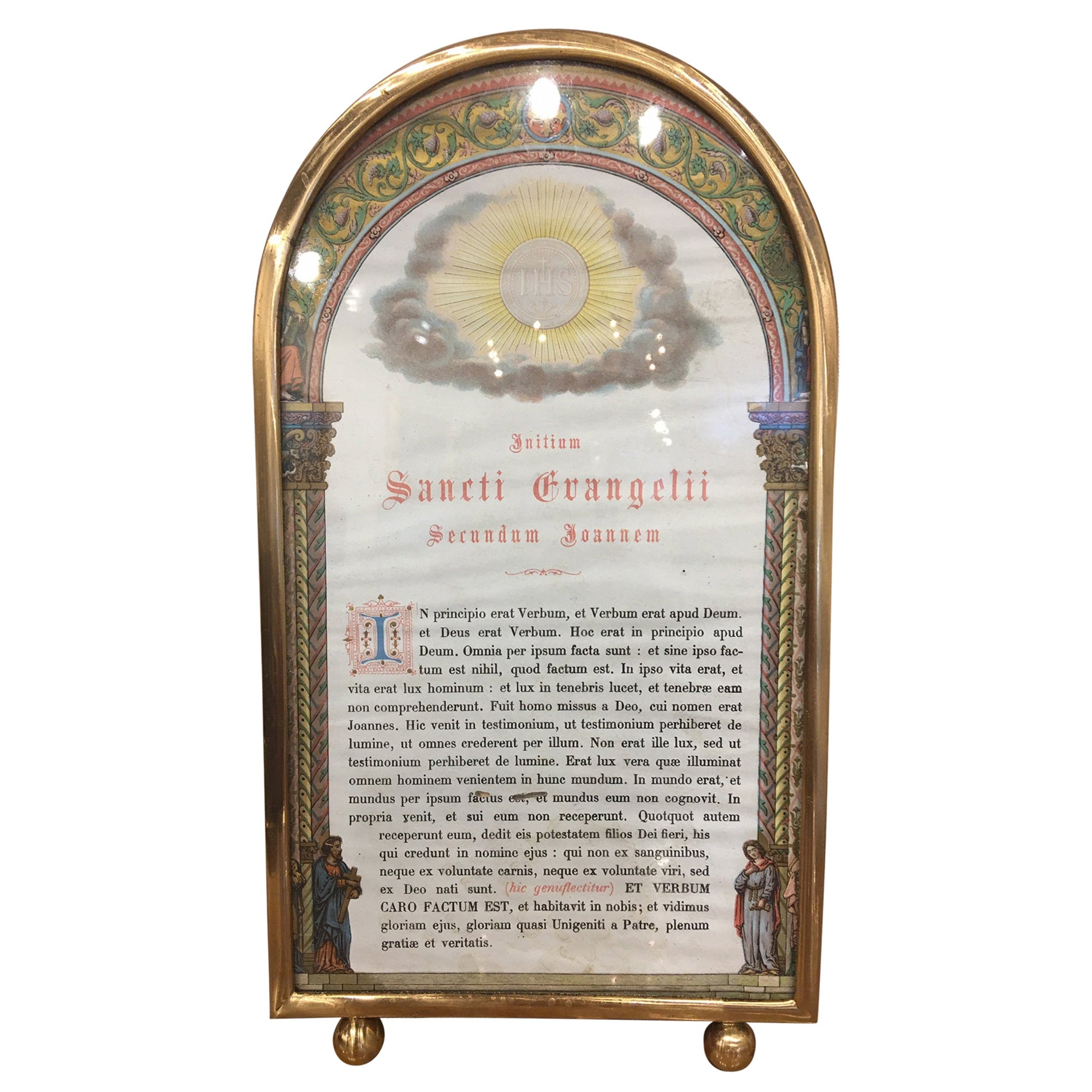 Polished Brass Picture Frame with Decorative Trim Around, 19th Century