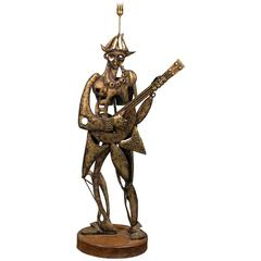 1950s Spanish Floor Lamp Inspired by Picasso's Harlequin Holding a Guitar