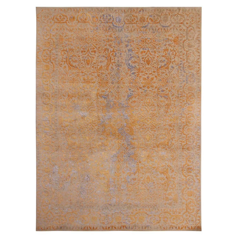 Rug & Kilim's Geometric Floral Beige Gold and Blue Wool and Silk Custom Rug