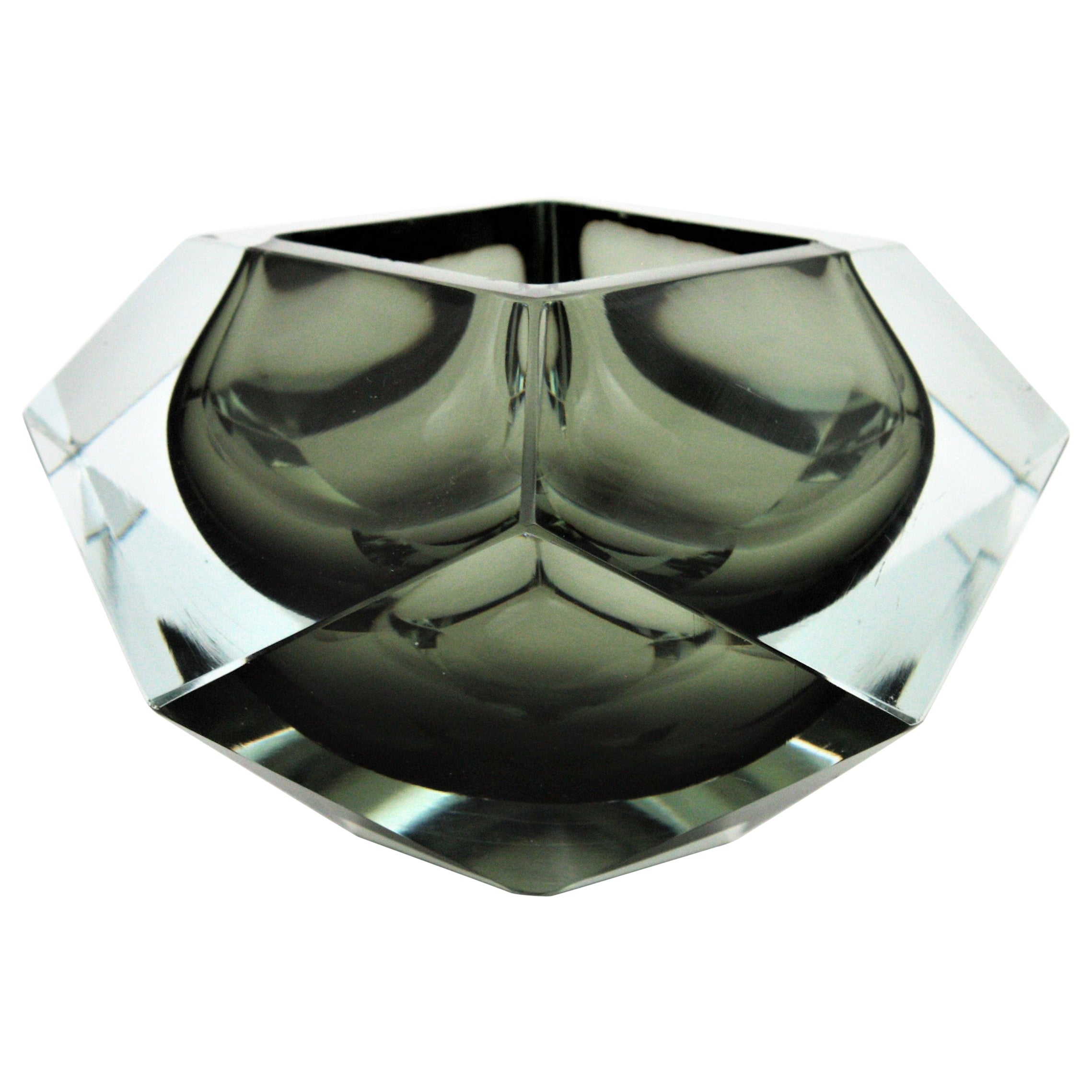 XXL Flavio Poli Smoked Grey and Clear Faceted Murano Glass Bowl or Ashtray