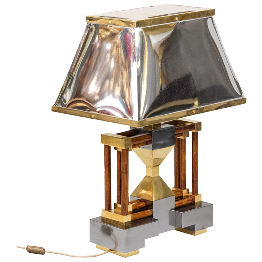 Lamp in Bamboo, Gilt and Silvered Brass, 1970s