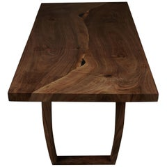 English Walnut Dining Table, Inset Live Edge by Jonathan Field