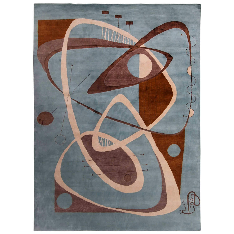 Rug & Kilim's Mid-Century Modern Geometric Blue/Brown Wool and Silk Custom Rug