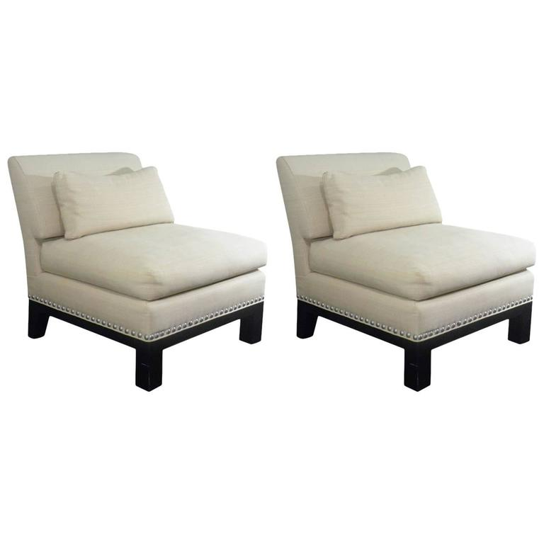 Chic designer onassis 39 pair of nailhead trimmed lounge for 1980s furniture design