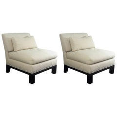 Designer 'Onassis' Pair of Nailhead Trimmed Lounge Chairs, by Mars Jaffe, 1980s
