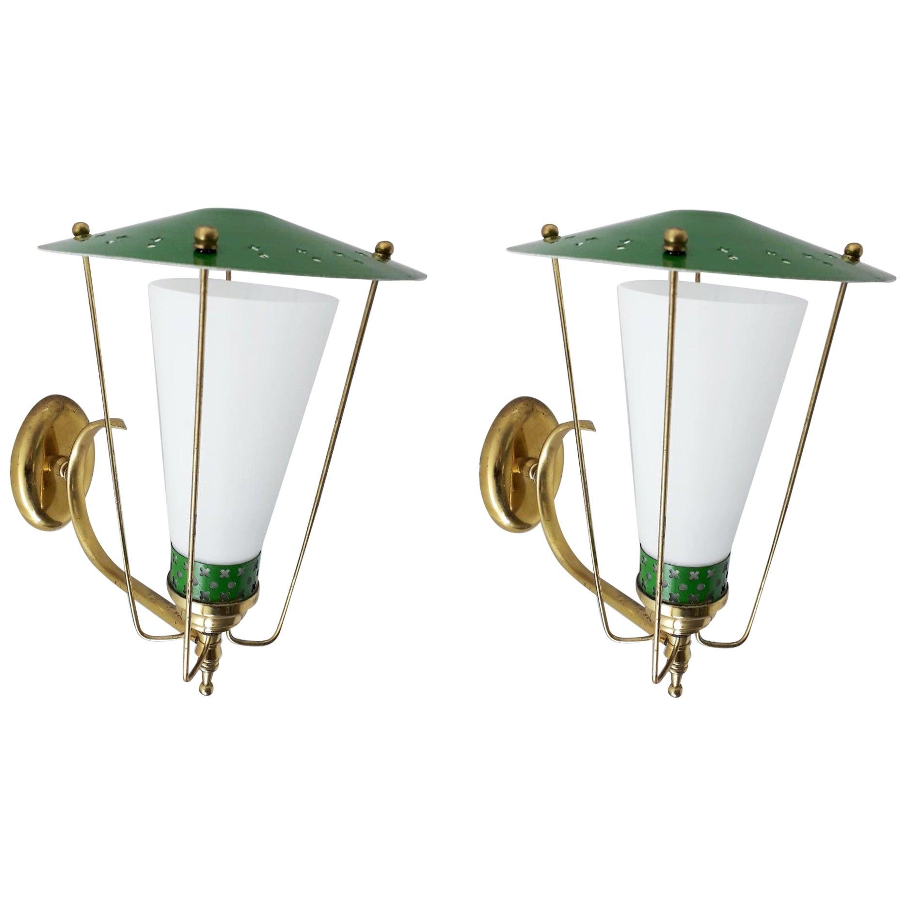 Pair of Lantern Sconces by Stilnovo