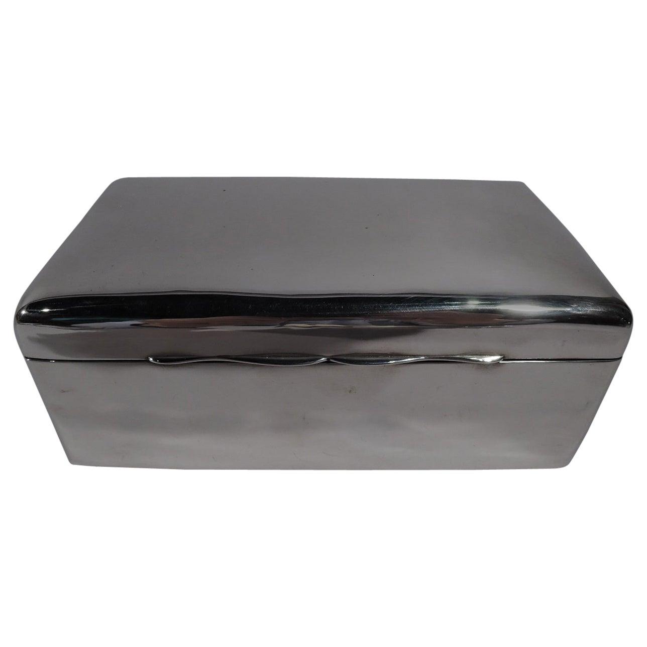 English Edwardian Modern Sterling Silver Box