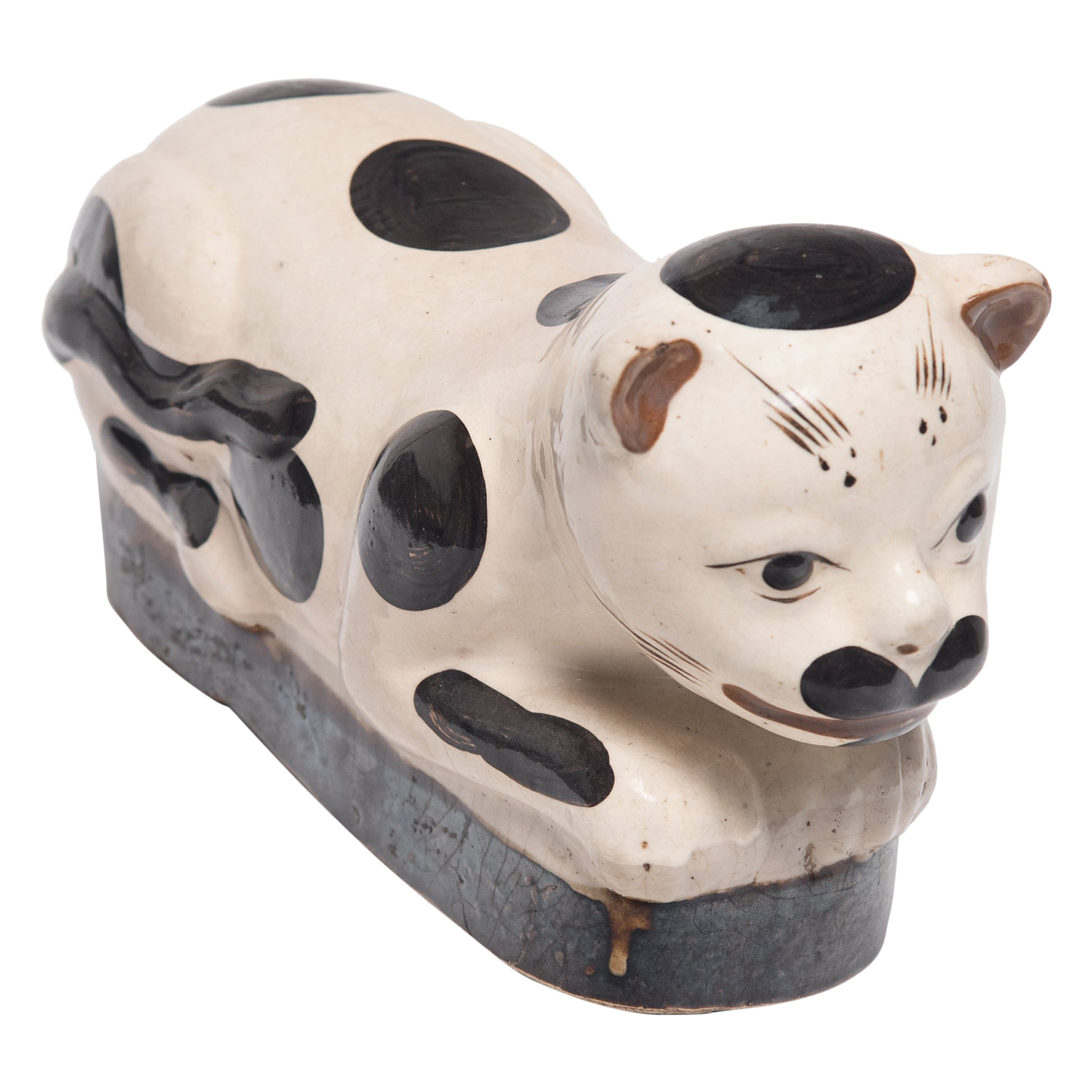 Chinese Brown and White Cat Headrest, circa 1900