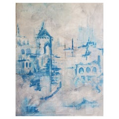 """""""Pathstone"""" Architectural Abstract Mixed-Media Painting, Blue, White, Gray"""