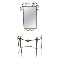 Italian Entry Console Marble Table and  Brass Wall Mirror