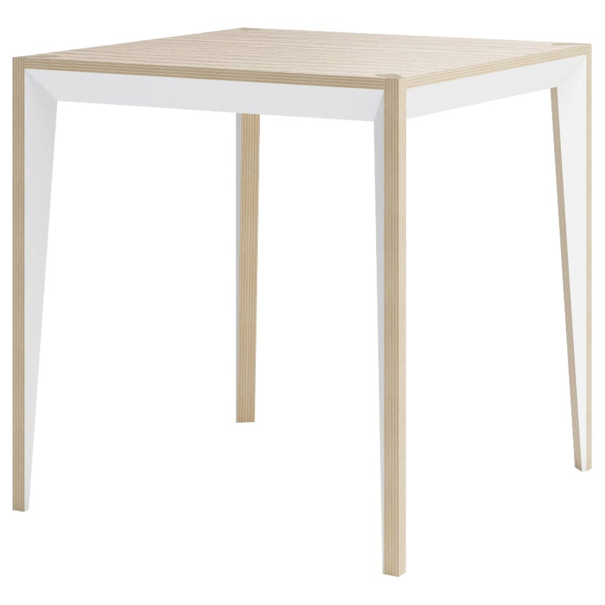 Oak White MiMi Breakfast Square Table by Miduny, Made in Italy