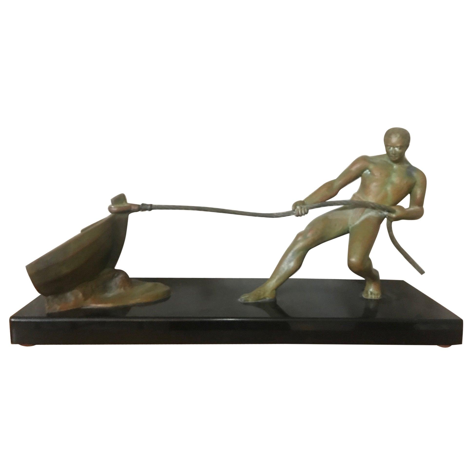 Art Deco Bronze Salvatore Riolo Sculpture, 1930s