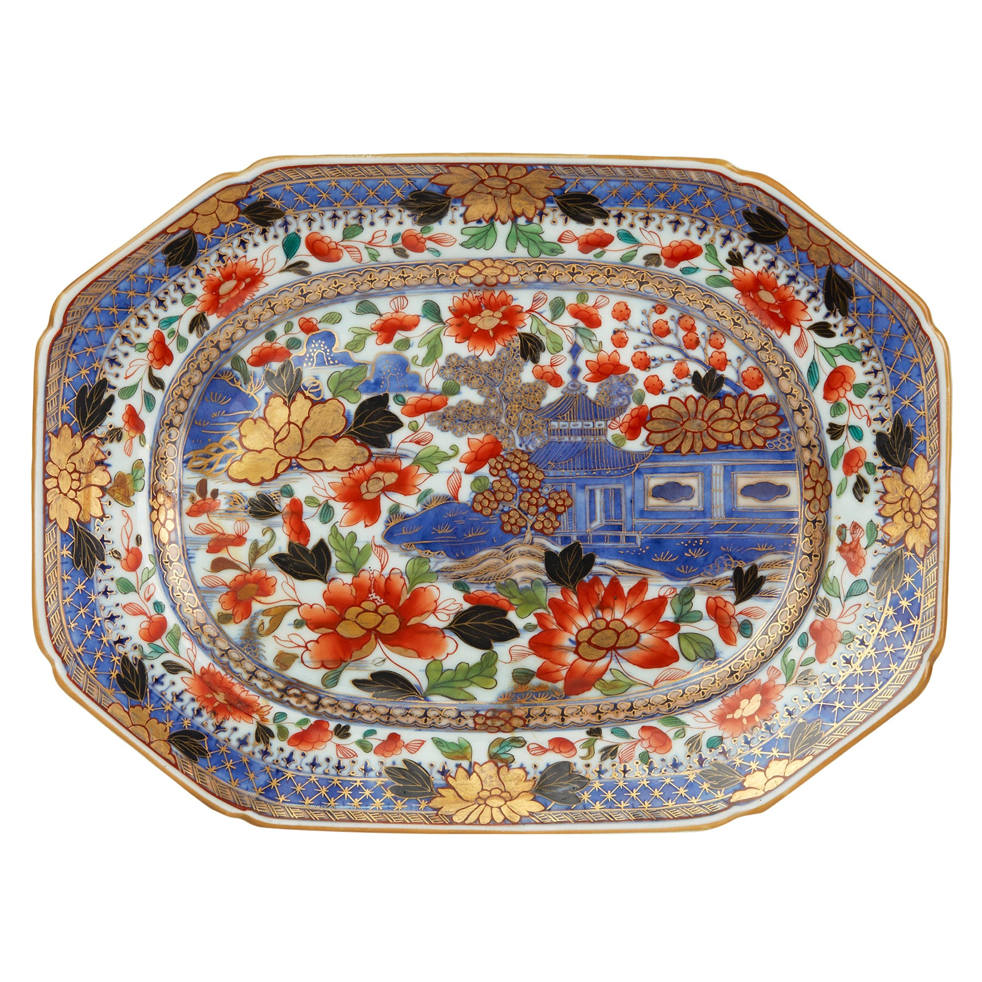 Exceptional Chinese Qianlong Porcelain Overpainted Serving Dish, circa 1760