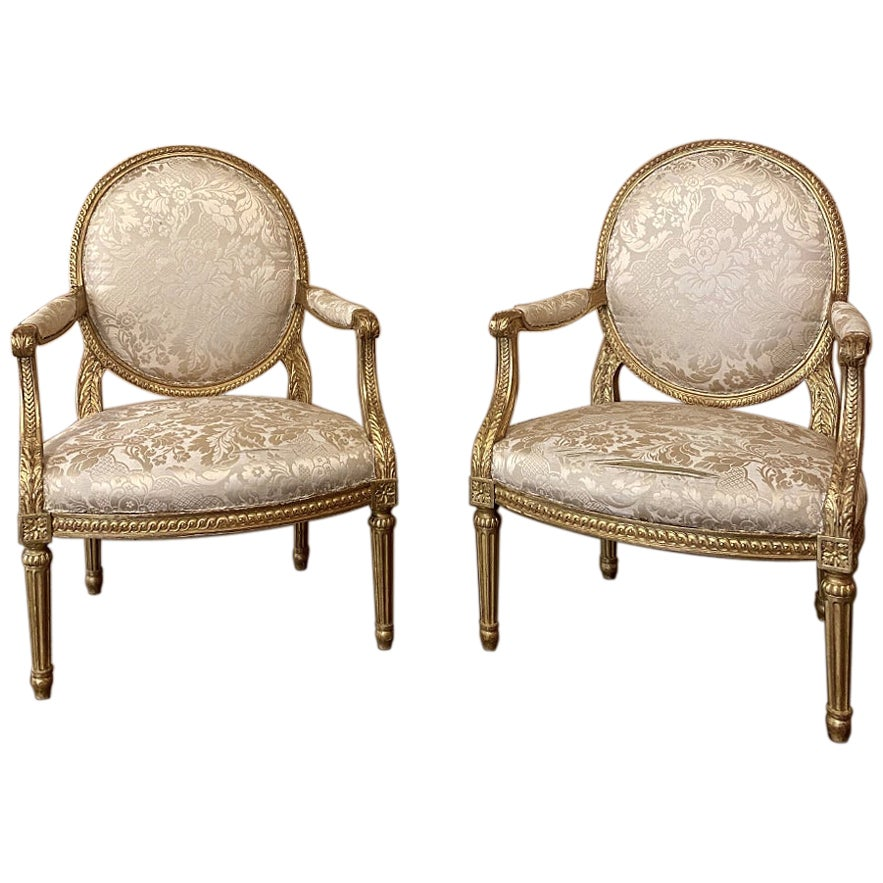 Pair of 19th Century French Louis XVI Gilded Armchairs, Fauteuils