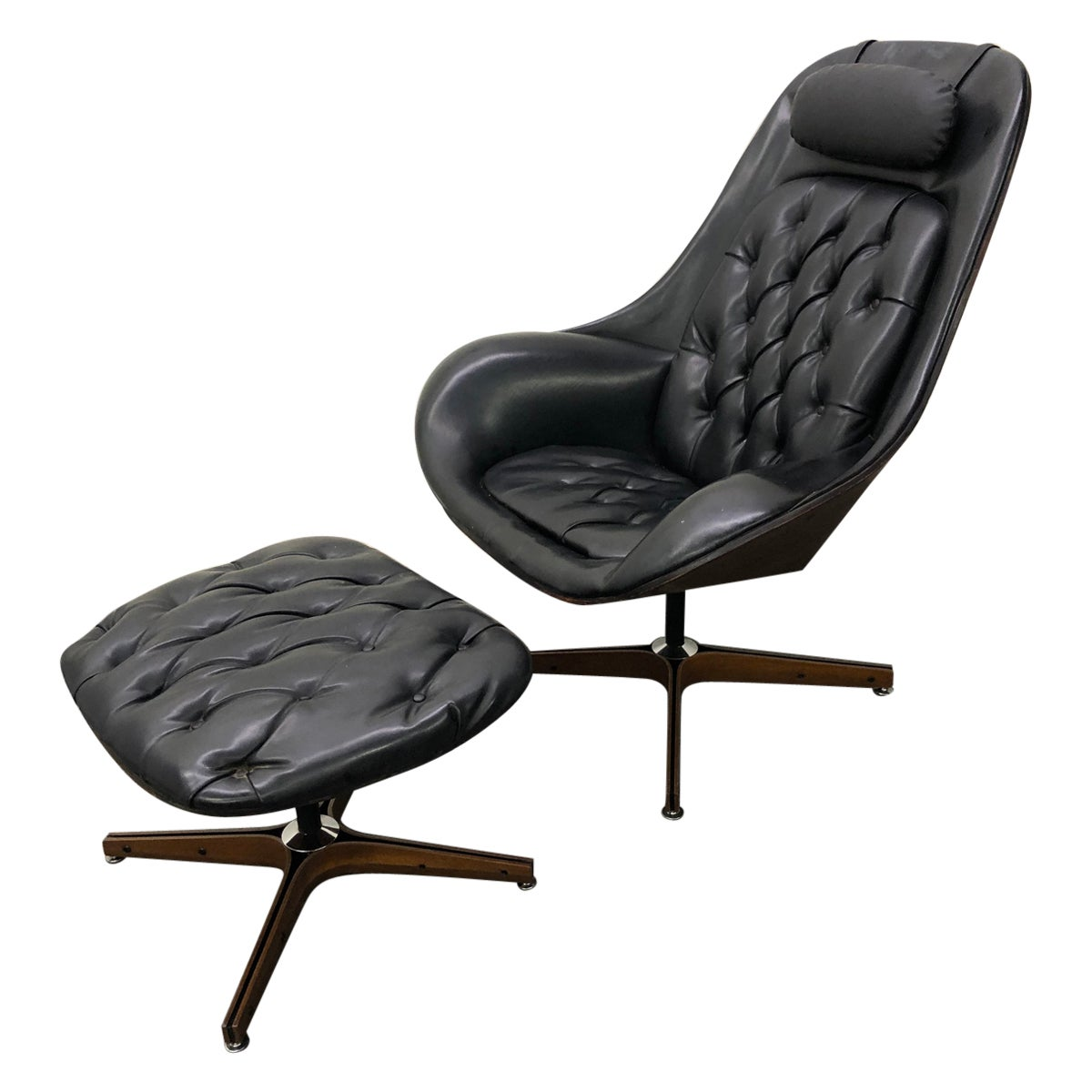 Iconic Space Age Version Mr. Chair and Ottoman by George Mulhauser for Plycraft
