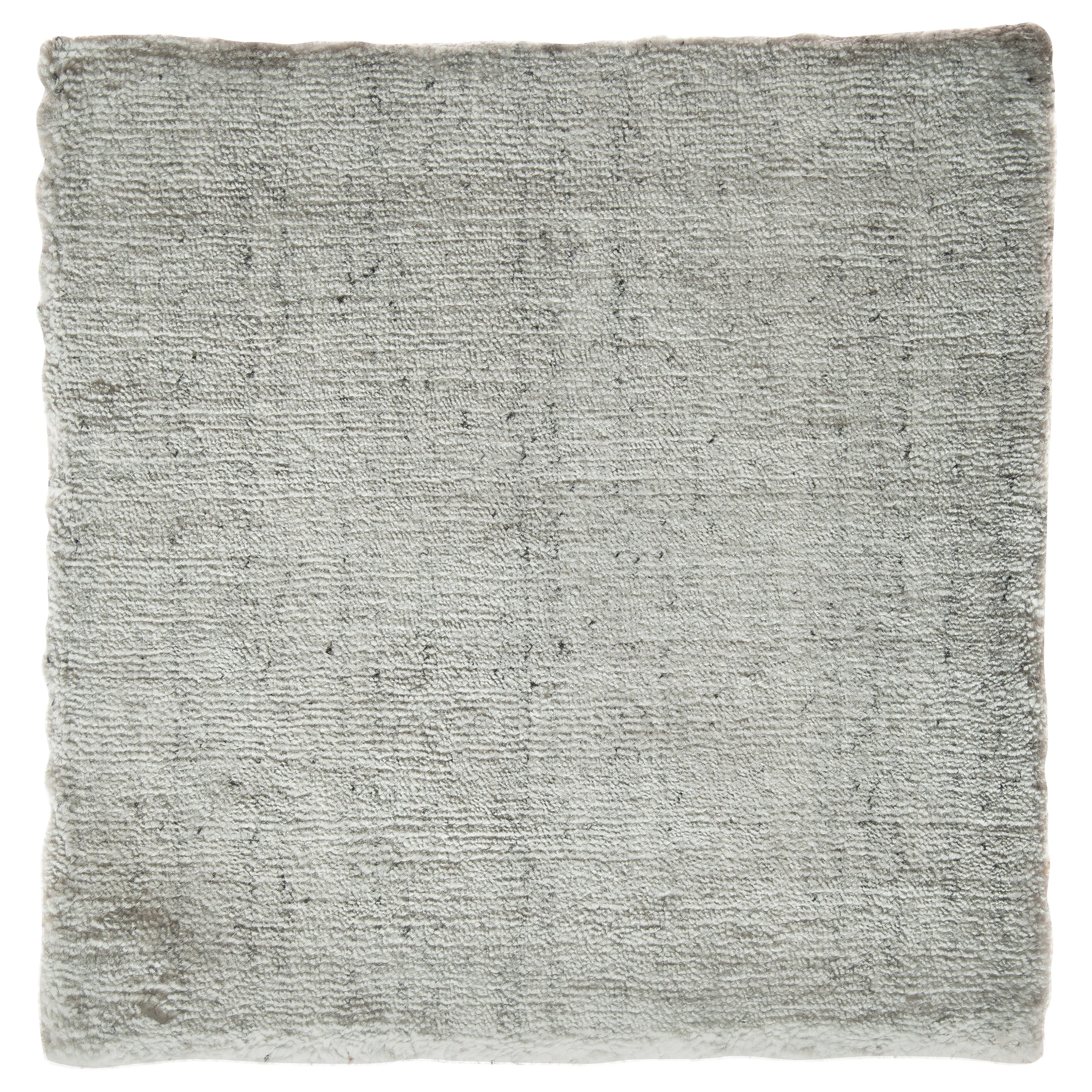 White and Silver Speckled Bamboo Silk Solid Hand-Loomed Contemporary Rug