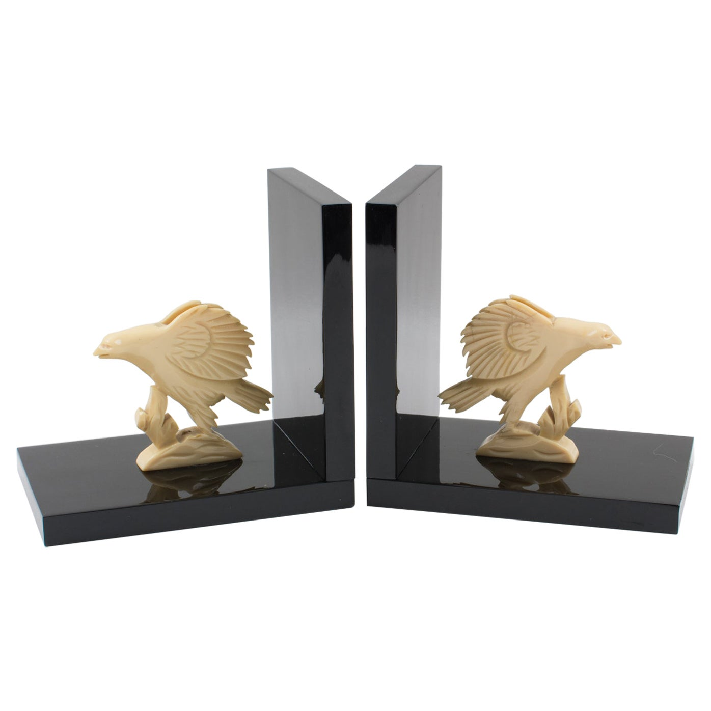French Art Deco Galalith Eagle Figural Bookends