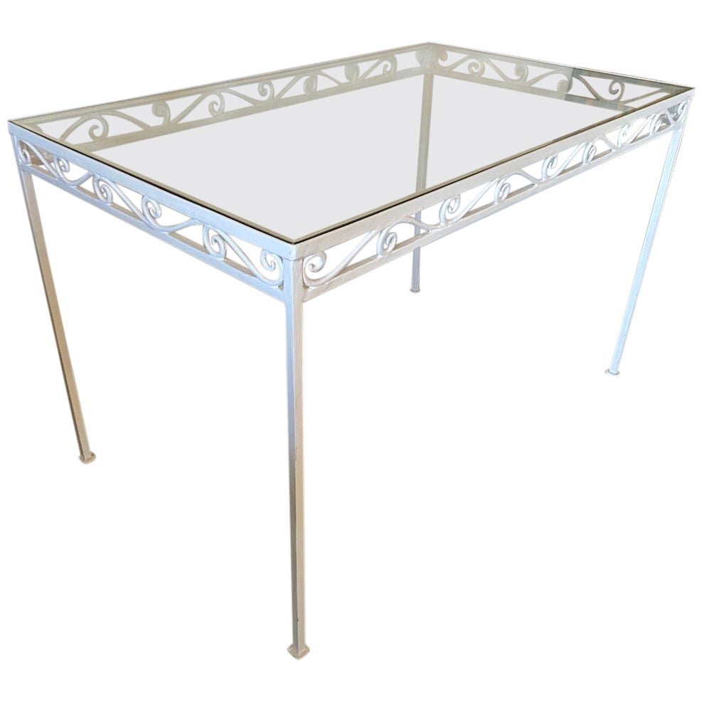 Metal and Glass Garden Patio Dining Table