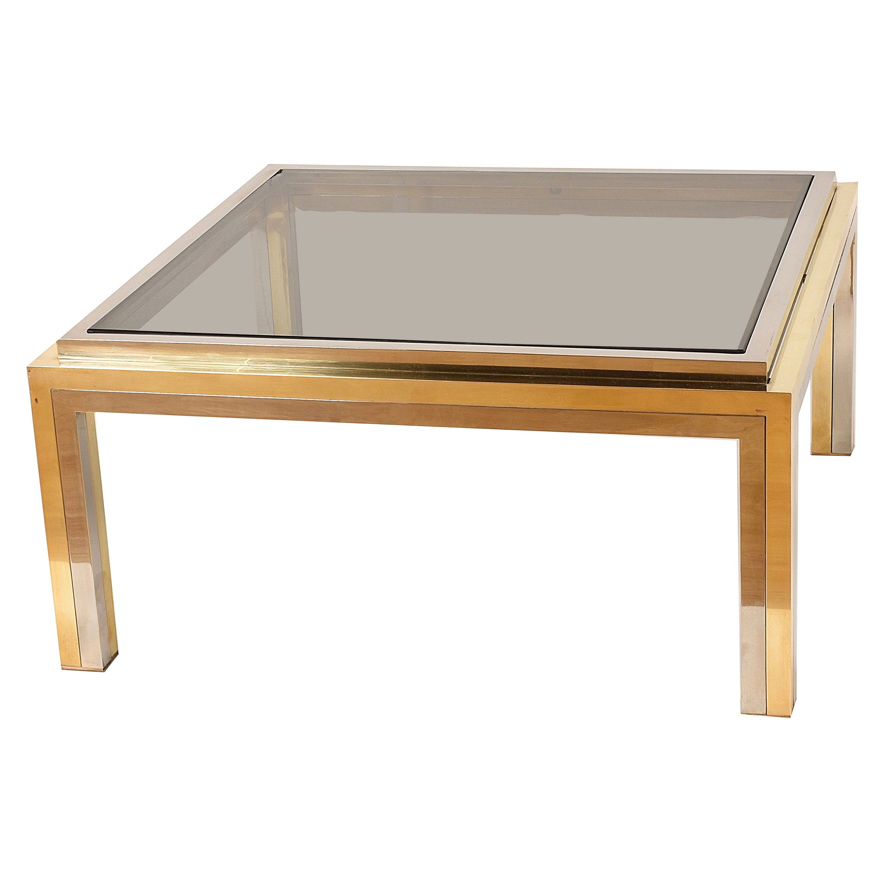 Midcentury Rega Smoked Glass, Brass and Chrome Square Coffee Table, Italy 1970s