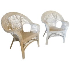 Pair of Victorian Style Wicker Wide Arm Armchair