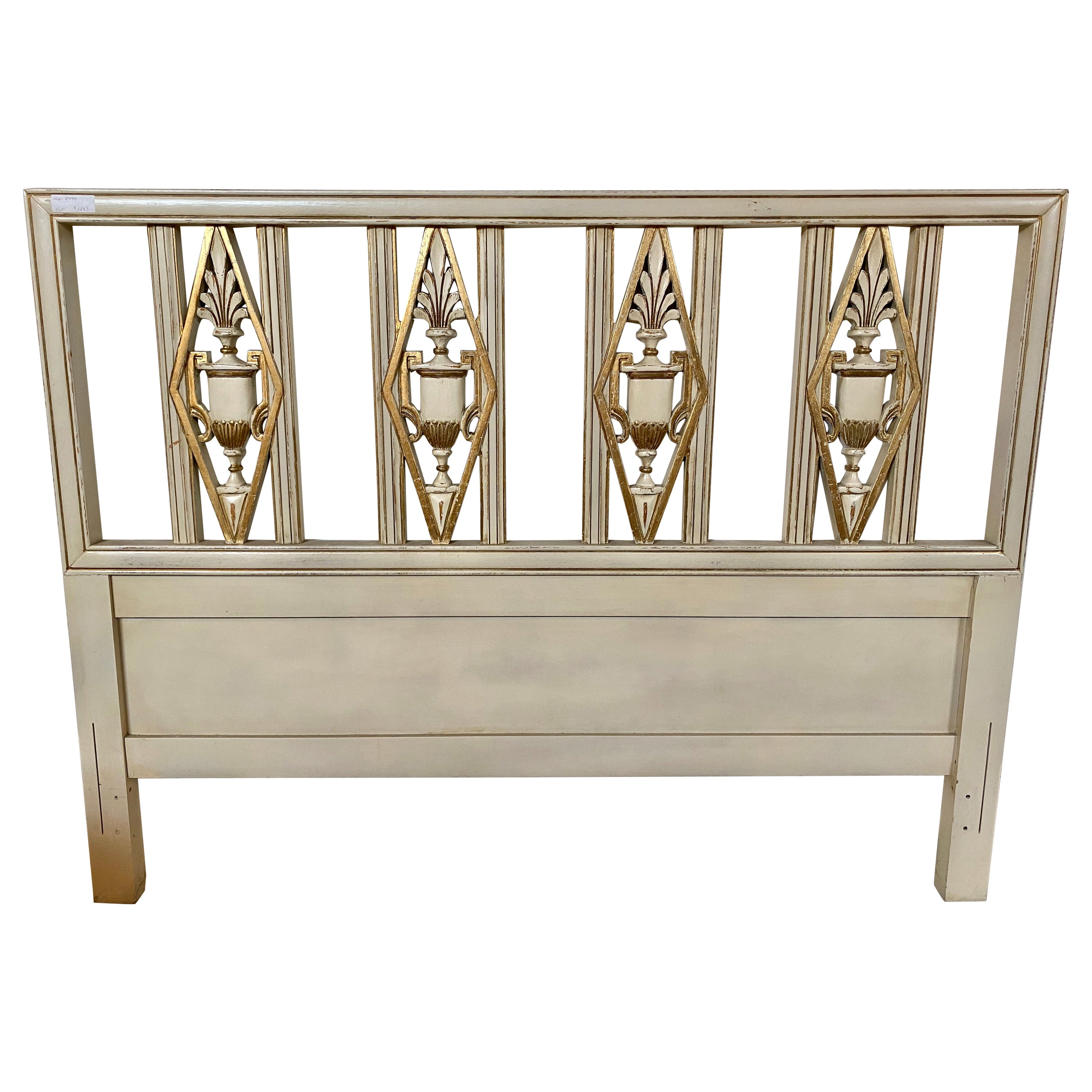 Hollywood Regency Headboard, Queen Size Bed, Gilt and Paint Decorated