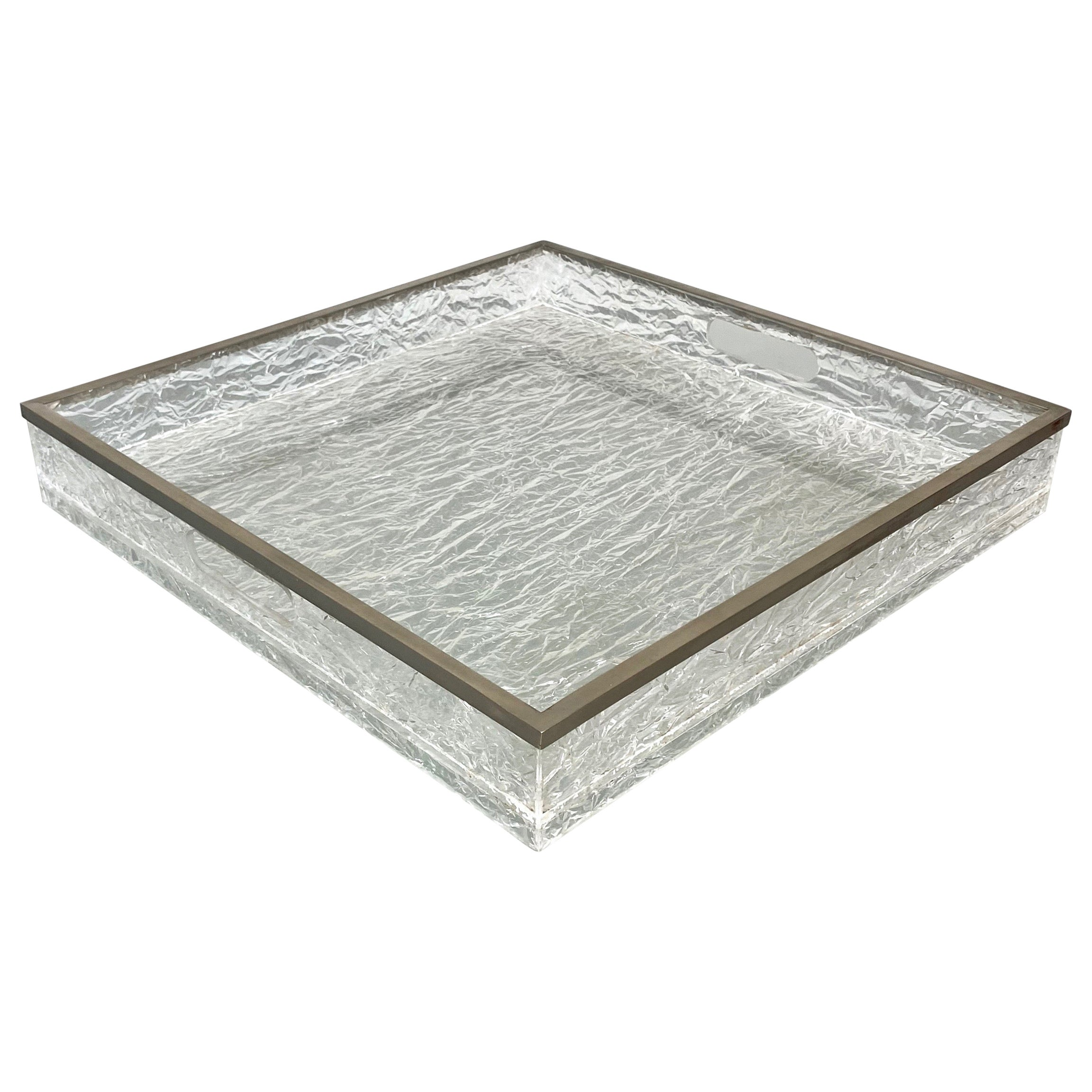 Centerpiece Serving Tray Ice Effect Lucite Nickel Willy Rizzo, Italy, 1970s