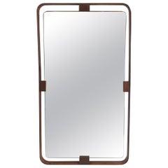 Italian Vintage Leather Wall Mirror