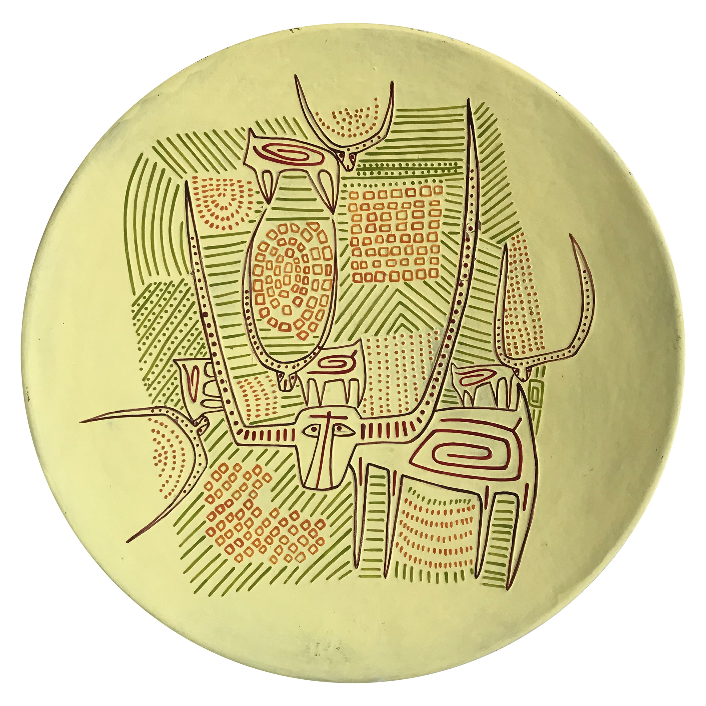 Paolo Loddo Italian Ceramic Decorative Dishes Plate, 1960s