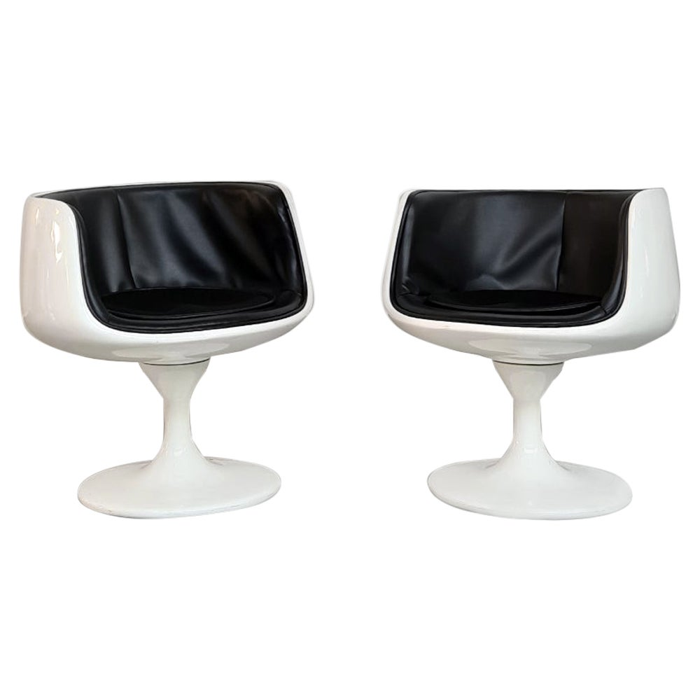 Space Age White Plastic and Black Vinyl Chairs by Eero Aarnio, 1970s