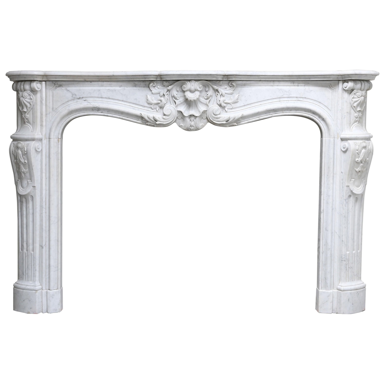 19th Century Louis XV Carrara Marble Fireplace