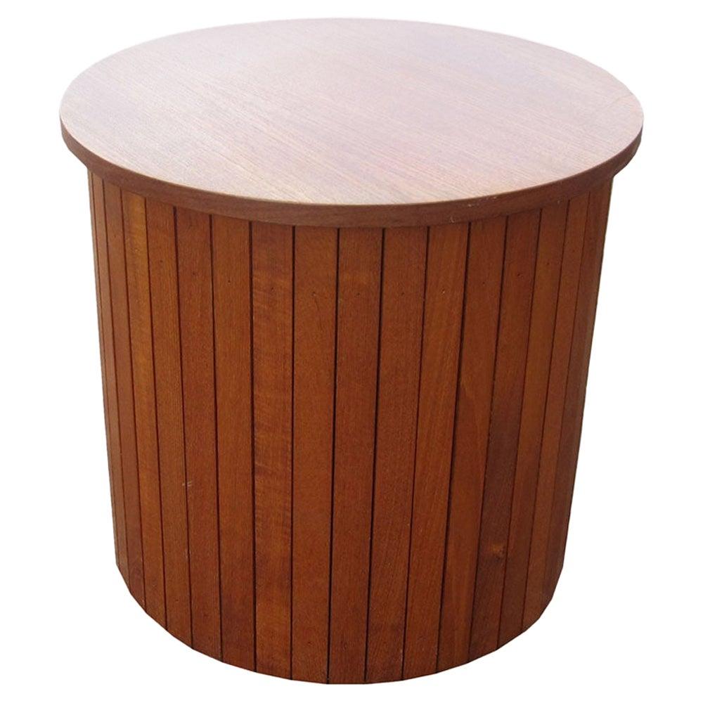 Vintage Teak Drum Side Table