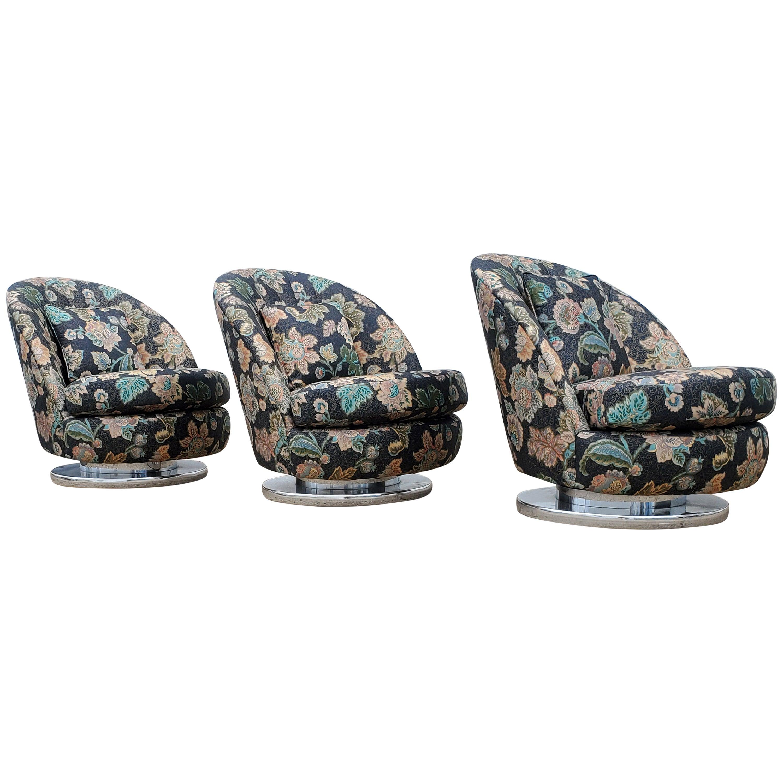 Set of Three Milo Baughman Tilt & Swivel Lounge Chairs Chrome Bases