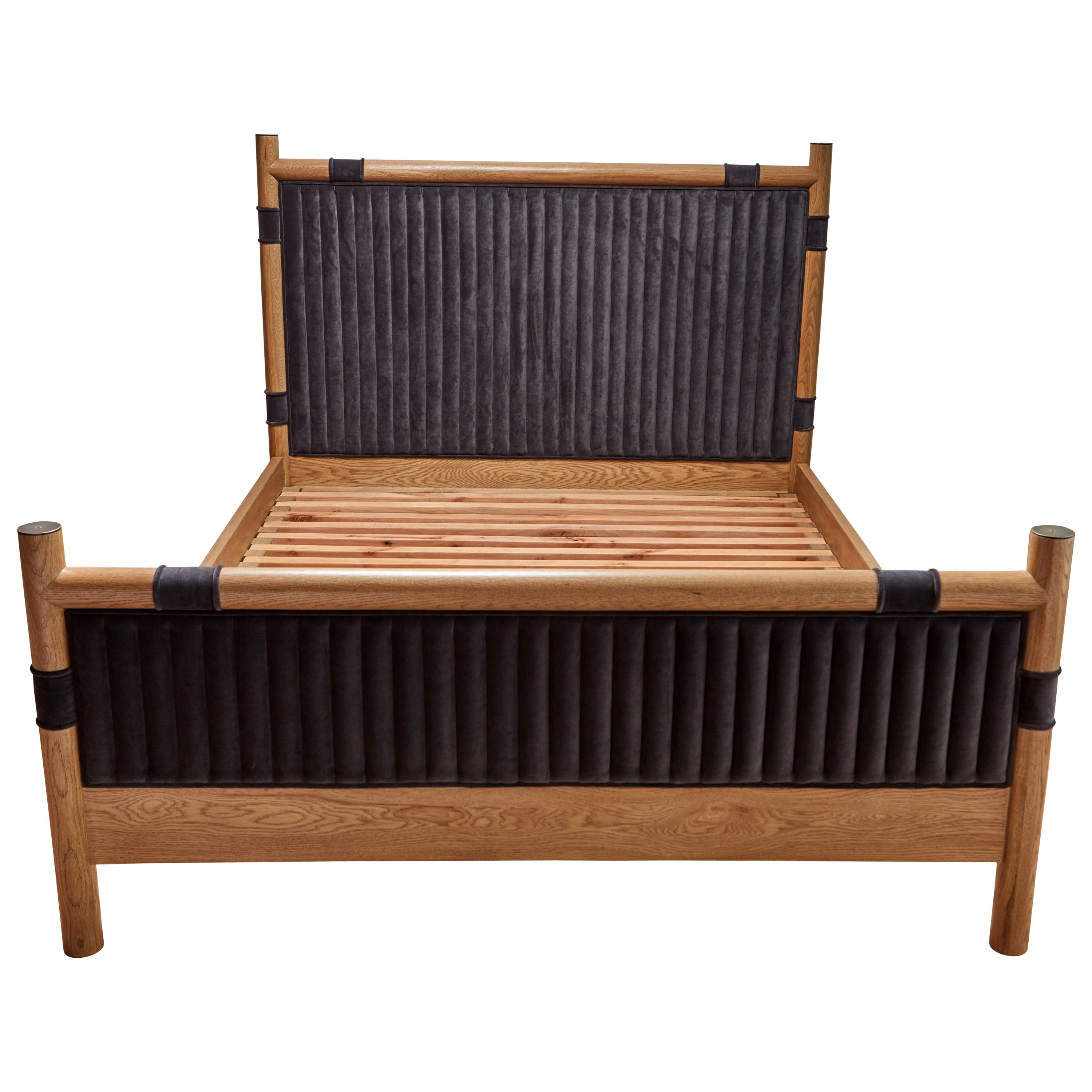 Oak and Velvet Channel Tufted Chiselhurst Bed by Lawson-Fenning, Queen