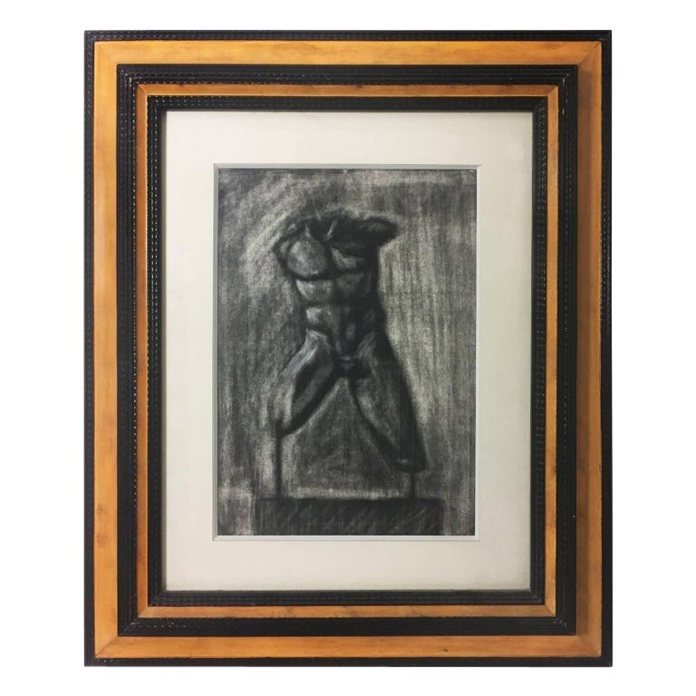 Charcoal Drawing of Male Torso