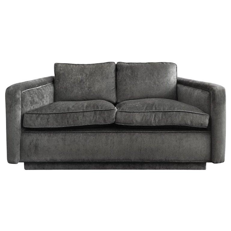 1960s Angled Arm Love Seat in Grey Velvet
