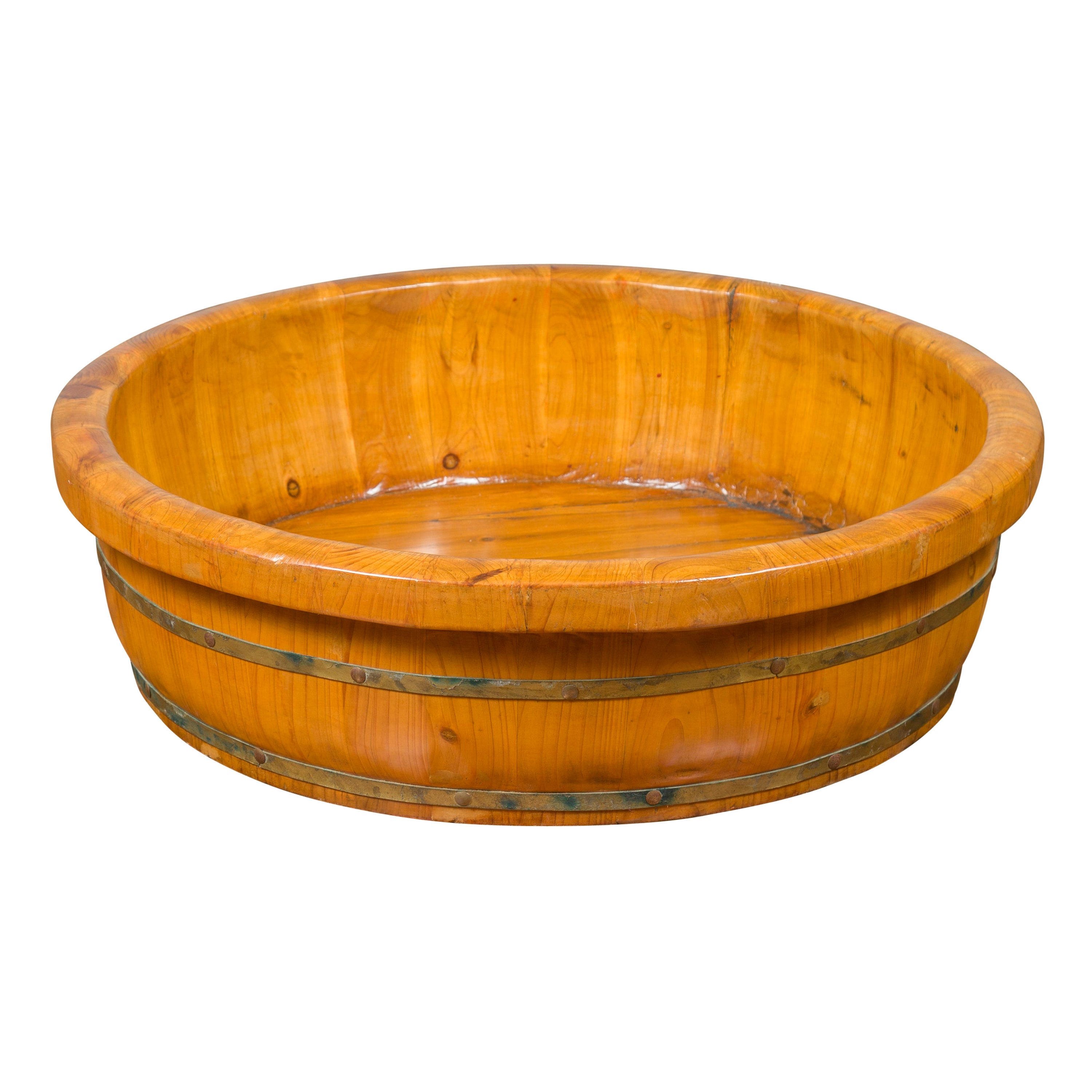 Chinese Qing Dynasty Period 19th Century Elm Round Rice Tray with Brass Braces