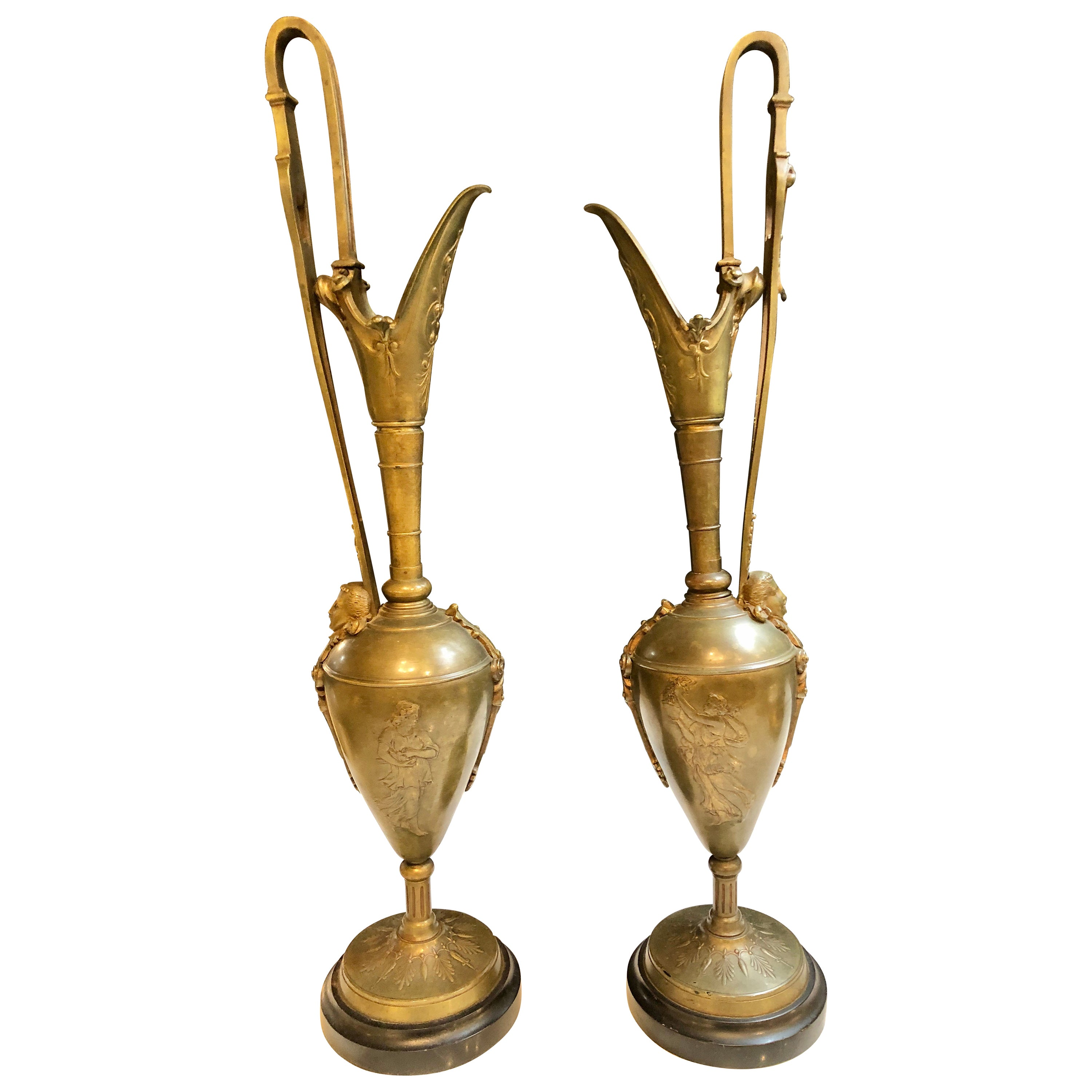 Pair of Classical Figural Bronze Neoclassical Ewers, 19th Century