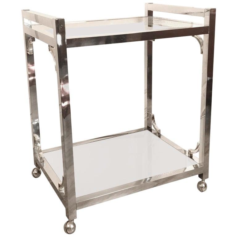 Milo Baughman Style Chrome, Glass and Mirror Bar Cart