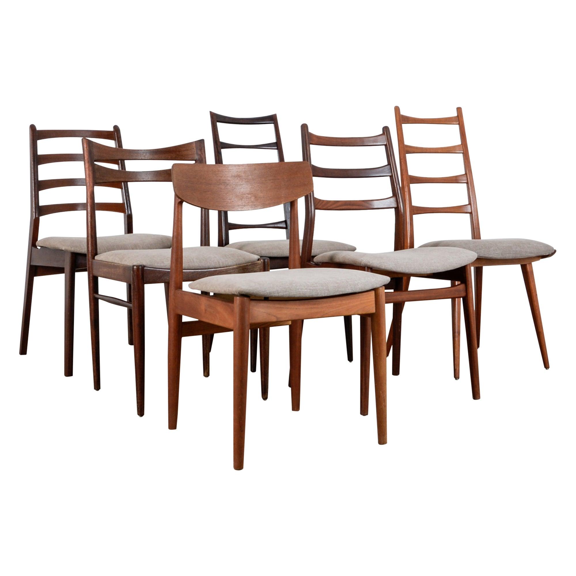Danish Modern Mixed Dining Chairs, Set of Six
