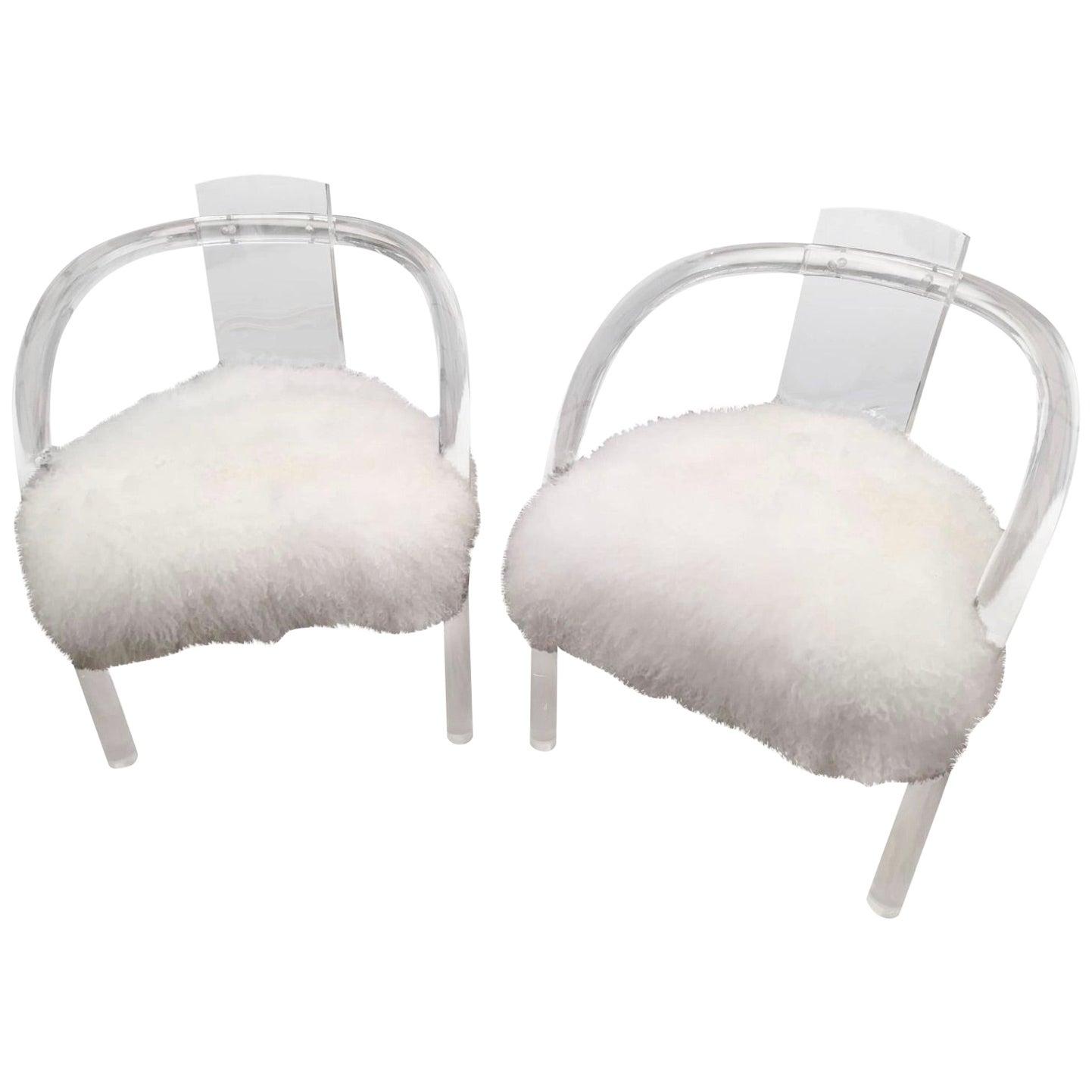 Midcentury Charles Hollis Jones Lucite Acrylic Chairs, Pair