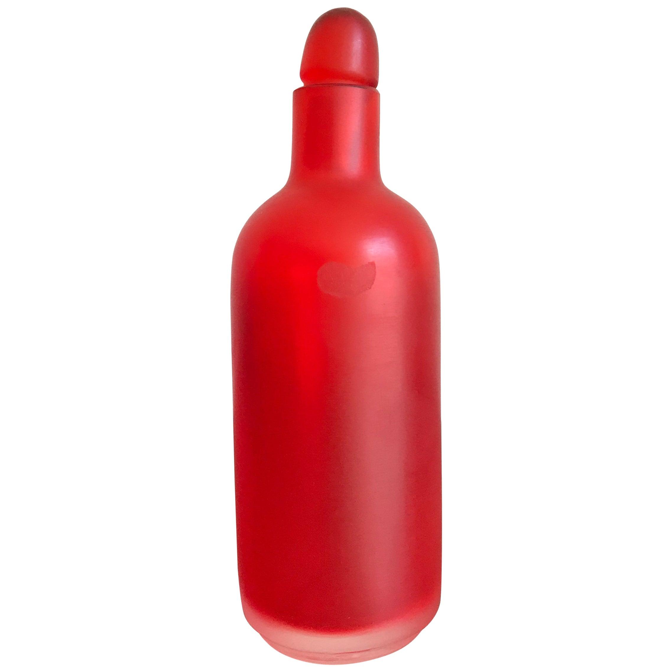 "Venini Murano Italy Glass Red Bottle Serie ""Velati"", 1995"