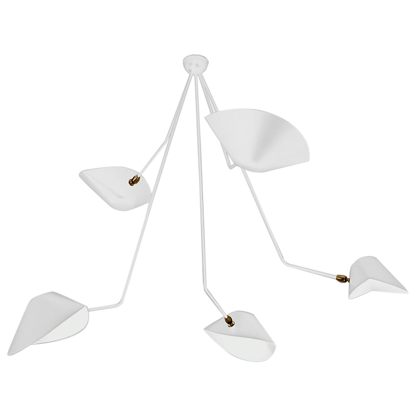 Serge Mouille Modern White Five Curved Fixed Arms Spider Ceiling Lamp