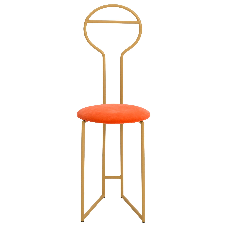 Joly Chairdrobe, High Back, Gold Structure, Orange Fine Italian Velvet