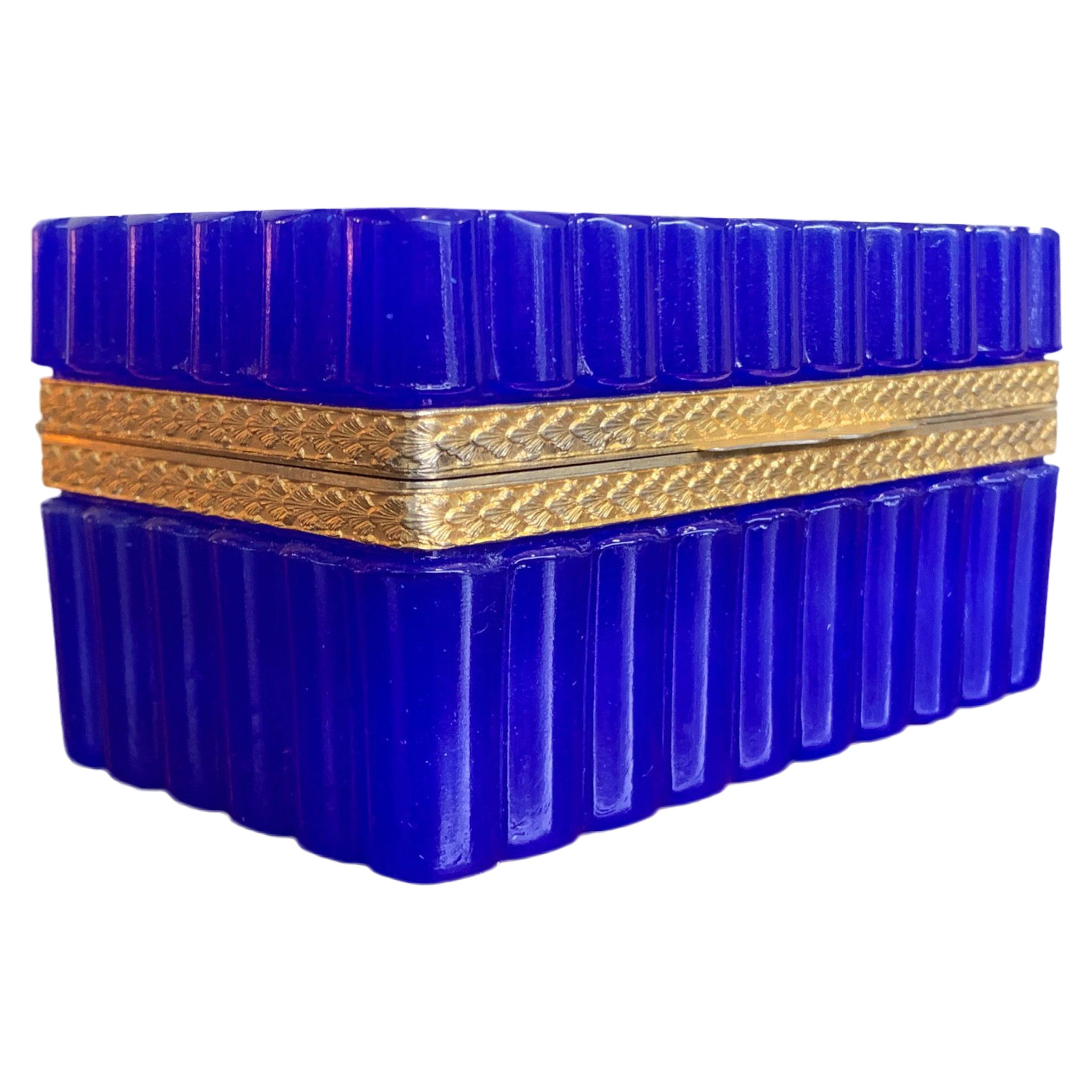 Stunning 1950s Cobalt Blue Murano Glass Hinged Jewelry Box by Cendese, Italy