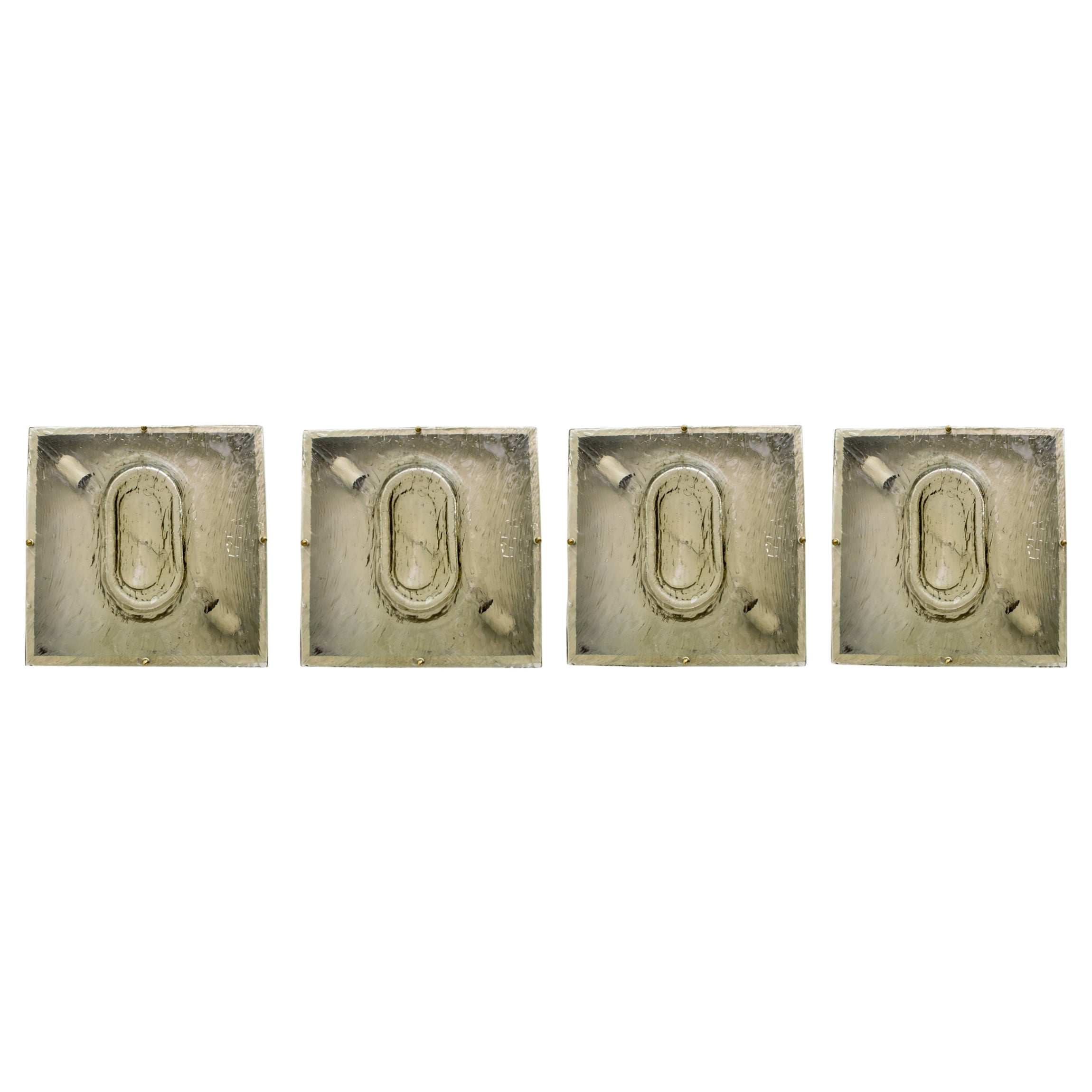 Four Toni Zuccheri Mid-Century Modern Murano Glass Sconces for Venini, 1960s