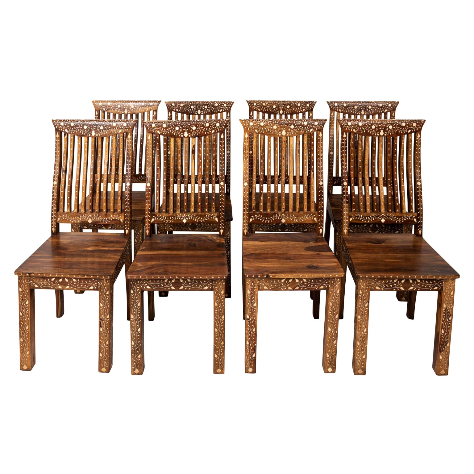 Set of Eight Walnut and Bone Inlaid Dining Room Chairs